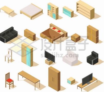 各种2.5D风格的木床柜子椅子沙发等家具png图片免抠矢量素材
