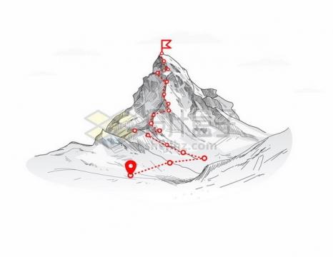 铅笔素描高山和红色登山线路图304035png图片素材