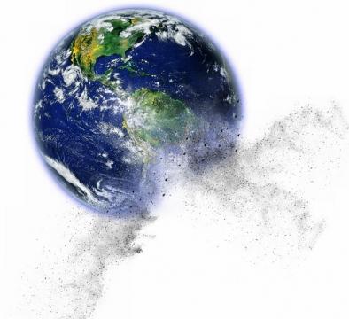 逐渐破碎被摧毁的地球变成粉末png图片素材