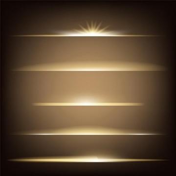 5种不同形状的金色发光装饰免抠png图片矢量图素材