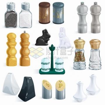 10种造型的调料罐调味罐厨房用品png图片素材