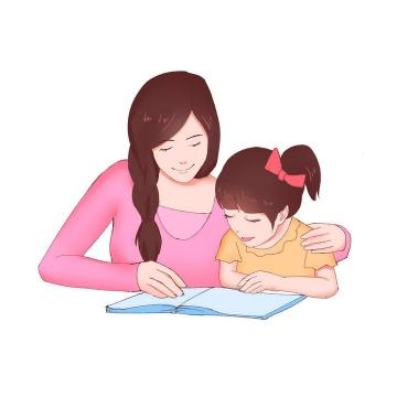 手绘风格陪女儿读书的年轻妈妈母亲节图片设计素材