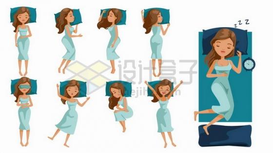 身穿绿色睡衣卡通美女的9种睡觉姿势png图片免抠矢量素材