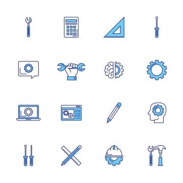 16款蓝色线条各种工具扳手计算器等工业icon图标图片免抠矢量素材