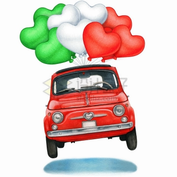 心形气球吊起的红色小汽车婚车结婚用车水彩插画png图片免抠矢量素材
