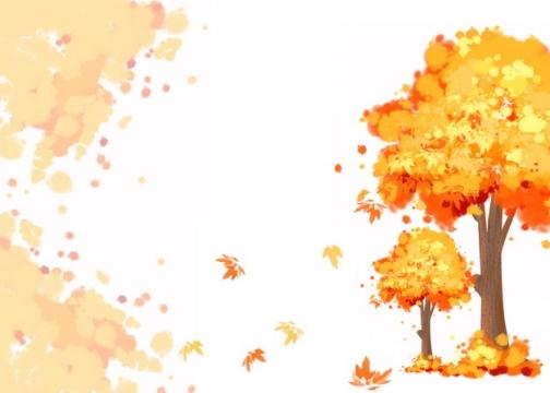 秋天里变红变黄的大树也飞舞的落叶210921png图片素材