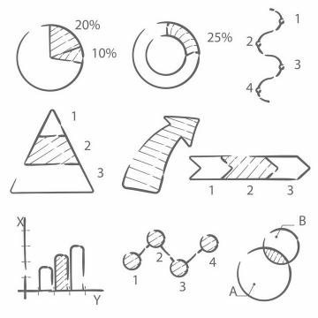 手绘黑色线条风格饼形图环形比例图流程图三角图箭头柱形图等PPT数据图表png图片免抠矢量素材