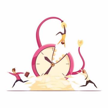象征时间的闹钟变成怪物吞噬每一个人的工作效率png图片免抠矢量素材