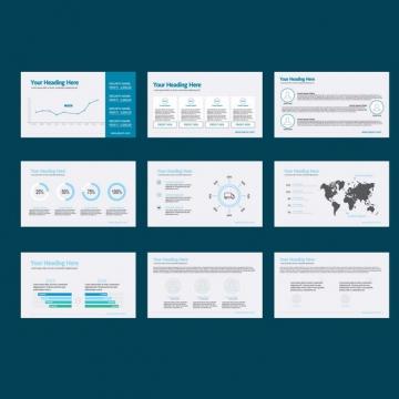 精美扁平化风格蓝色商务PPT模板491524图片素材