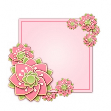 3D立体浮雕风格花朵组成的正方形文本框标题框信息框423785png图片素材