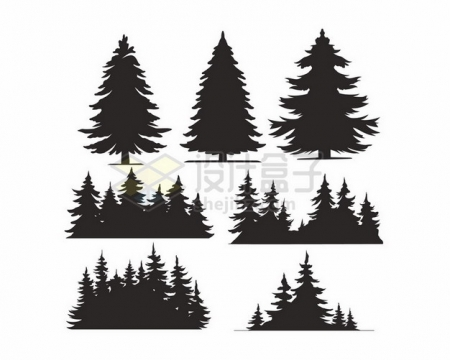 雪松大树森林树林剪影740256png图片素材