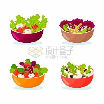 4款蔬菜色拉水果拼盘美味美食png图片免抠矢量素材