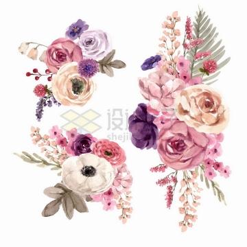 玫瑰花月季花茉莉花等花朵鲜花水彩画花卉png图片免抠矢量素材