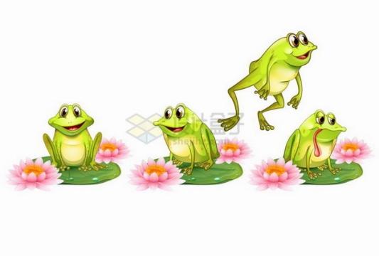 荷叶荷花上的四只可爱的卡通青蛙png图片素材