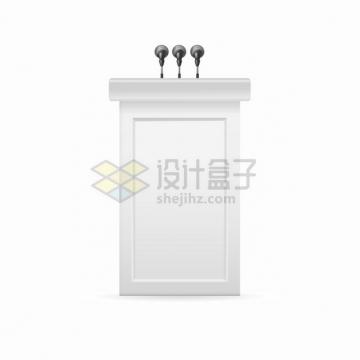 3个话筒的白色演讲台6587723png图片素材