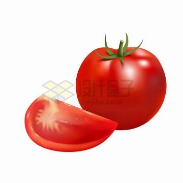 一颗鲜红的西红柿和切块的美味番茄png图片免抠矢量素材