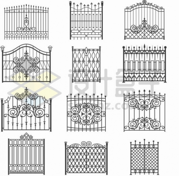 12款黑色线条铁栅栏围墙png图片免抠矢量素材