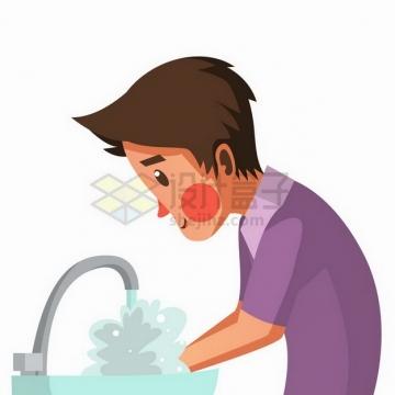 卡通男人洗手预防新型冠状病毒疫情插画png图片免抠矢量素材