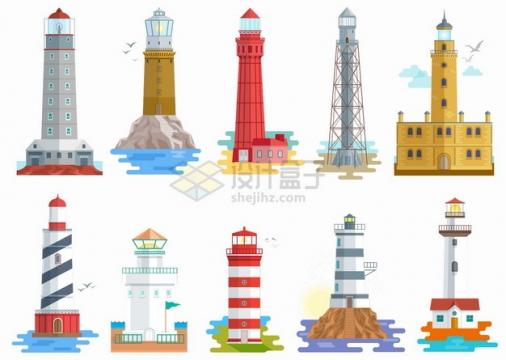 10款扁平插画风格高塔灯塔png图片素材