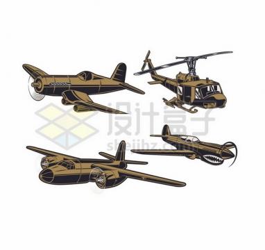 螺旋桨战斗机直升机插画750198 png图片素材