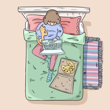 彩绘手绘卡通在床上抱着猫咪吃披萨玩电脑的女孩图片免抠素材