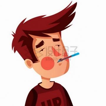 卡通男人嘴里含着水银温度计测量体温预防新型冠状病毒疫情插画png图片免抠矢量素材