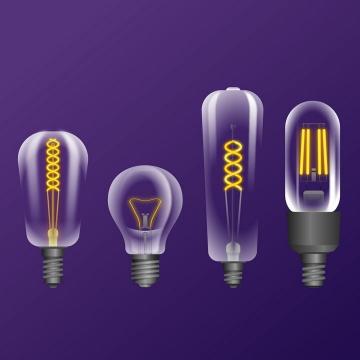 四种发光黄色灯丝的白炽灯电灯泡图片免抠矢量素材