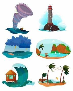 漫画风格龙卷风灯塔暴风雨海啸台风等自然灾害png图片免抠矢量素材