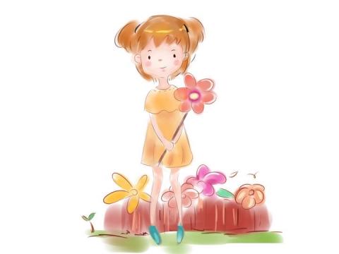 手绘卡通插画风格拿着花朵的小女孩六一儿童节图片免抠素材