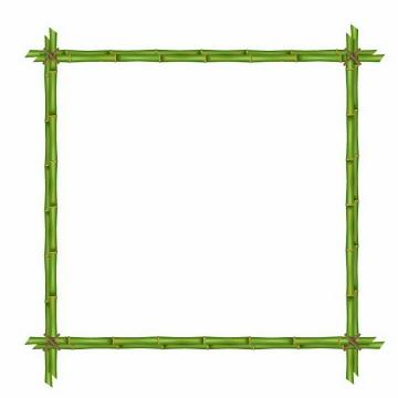创意绿色竹子竹竿组成的方框边框免抠png图片矢量图素材