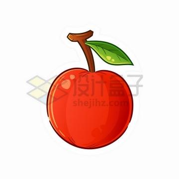 红色樱桃车厘子带一根绿叶卡通水果png图片免抠矢量素材