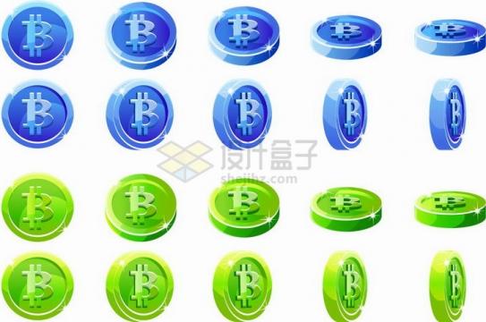 两套蓝色和绿色比特币硬币虚拟货币png图片免抠矢量素材