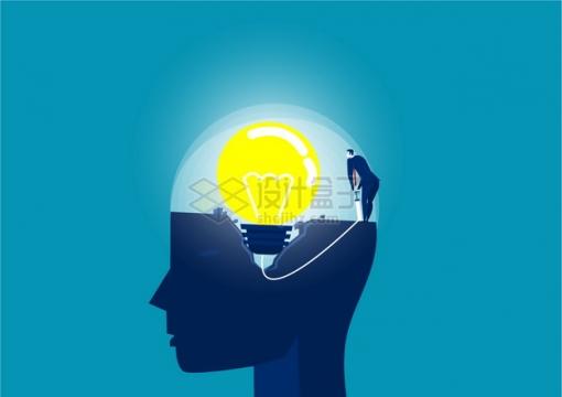 商务人士在脑子里放入电灯泡象征了洗脑植入思想png图片素材