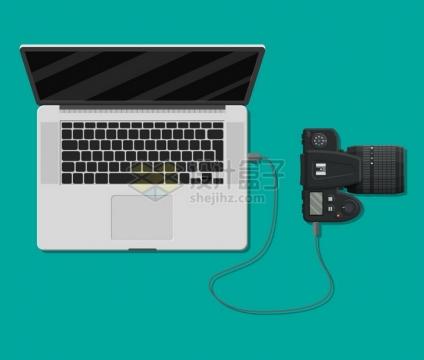 苹果MacBook Pro笔记本电脑用数据线连接数码相机png图片素材