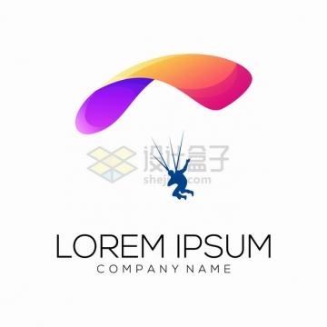 彩色降落伞跳伞极限运动logo设计方案png图片素材