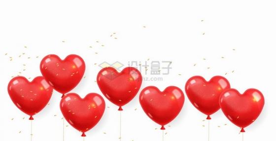 7个红色心形气球装饰png图片素材