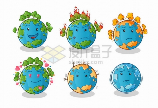 6款卡通地球上的生态环境保护地球png图片免抠矢量素材