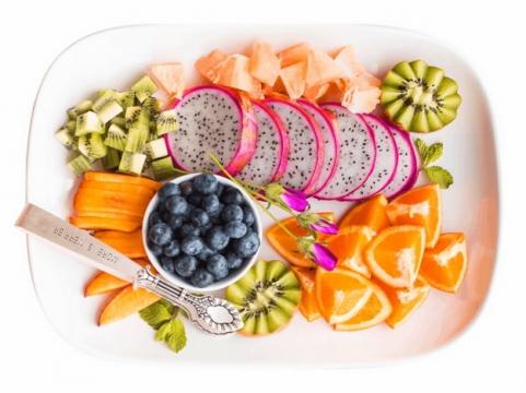白心火龙果蓝莓猕猴桃橙子等水果拼盘294570png图片素材