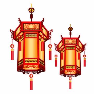 中国风的六角灯笼png图片免抠素材