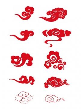 十款红色的祥云图案761316png图片素材
