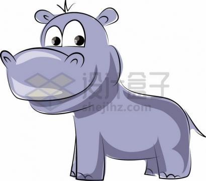 可爱的卡通河马儿童插画png图片素材