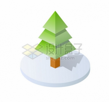 3D立体雪松大树224779png图片素材