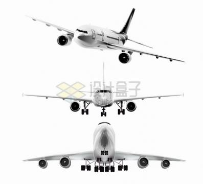 金属银灰色的大型客机飞机三视图1368764png图片素材