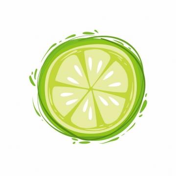 切开的青柠檬手绘涂鸦插画风格水果976545图片素材