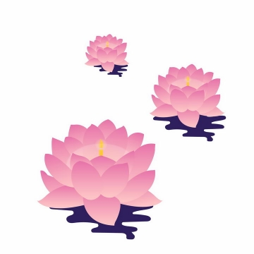 中间有蜡烛的三款粉色莲花灯png图片免抠素材