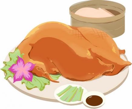 经典吃法的北京烤鸭png图片免抠素材