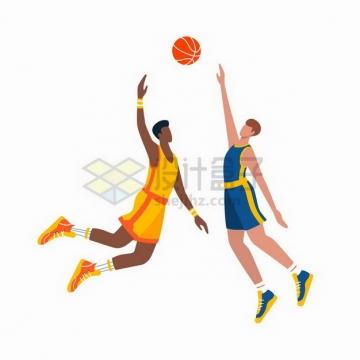 两个篮球运动员正在抢篮板体育运动扁平插画png图片免抠矢量素材