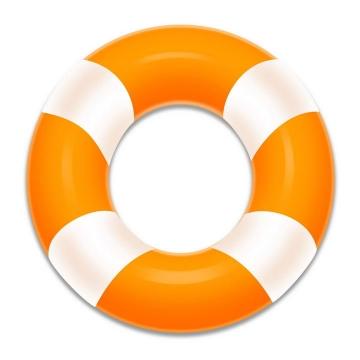 橙色白色相间的救生圈游泳圈图片免抠素材