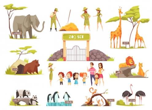 卡通风格大象长颈鹿野猪狮子大熊猫企鹅鸵鸟猴子等动物园动物和管理员图片免抠矢量素材