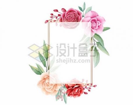 牡丹花组成的文本框标题框信息框288822png矢量图片素材